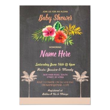 Hawaiian Themed Aloha Baby Shower Tropical Luau Vintage Invite