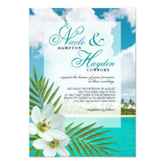 Aloha Beach Faux Vellum Overlay Wedding Card