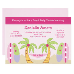 Aloha Beach Party Baby Girl Shower Invitation