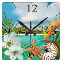 Aloha Beach Plumeria Frangipani Nautilus Square Wall Clock