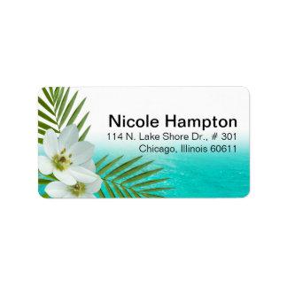 Aloha Beach Tropical Flowers Address Label