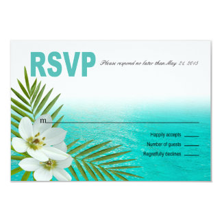 Aloha Beach Tropical Flowers RSVP Card