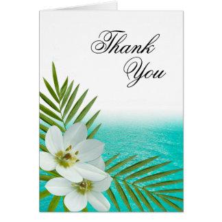 Aloha Beach Tropical Flowers Thank You Card