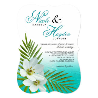 Aloha Beach Tropical Flowers Wedding 5x7 Paper Invitation Card