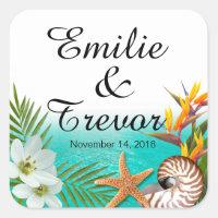 Aloha Beach Wedding Plumeria Frangipani Square Sticker