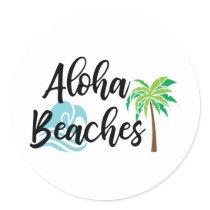 aloha beaches classic round sticker