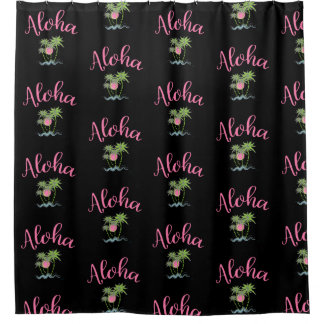 Aloha Beaches Hawaiian Style Summer Black Shower Curtain