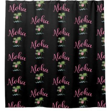 Beach Themed Aloha Beaches Hawaiian Style Summer Black Shower Curtain