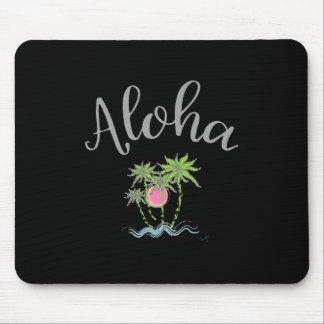 Aloha Beaches Hawaiian Style Summer Tropical Black Mouse Pad