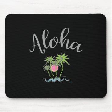 Beach Themed Aloha Beaches Hawaiian Style Summer Tropical Black Mouse Pad