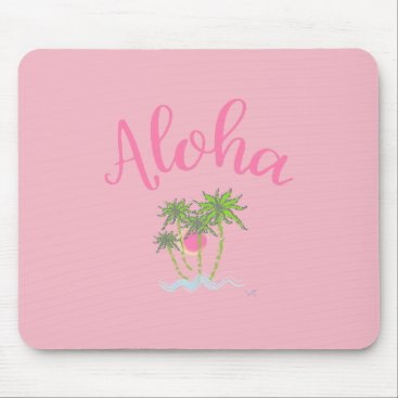 Beach Themed Aloha Beaches Hawaiian Style Summer Tropical Pink Mouse Pad