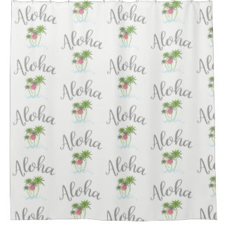 Aloha Beaches Hawaiian Style Summer White Shower Curtain