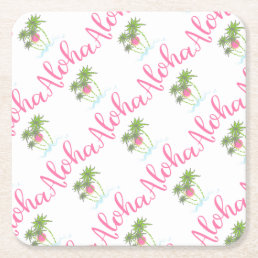 Aloha-Beaches Hawaiian Style Vacation Cool Square Paper Coaster