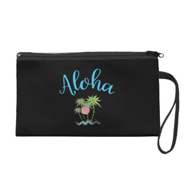 Beach Themed Aloha Beaches Hawaiian Tropical Summer Black Wristlet Purse