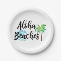aloha beaches paper plate