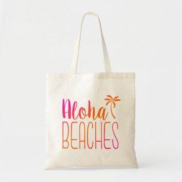 notablenovelties Aloha Beaches | Pink and Orange Tote Bag