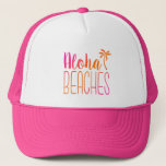 "Aloha Beaches | Pink and Orange Trucker Hat<br><div class=""desc"">This funny trucker hat features the phrase &quot;Aloha Beaches&quot; in a pink and orange ombre. Perfect for anyone that loves the beach!</div>"