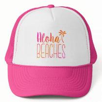 Aloha Beaches   Pink and Orange Trucker Hat