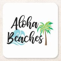 aloha beaches square paper coaster