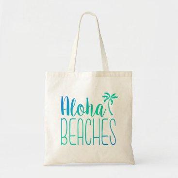 notablenovelties Aloha Beaches | Turquoise Ombre Tote Bag
