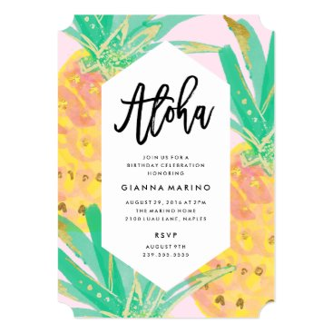 Beach Themed Aloha Birthday Invitation