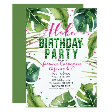 Beach Themed ALOHA BIRTHDAY PARTY Tropical Leaves Pink Green Card