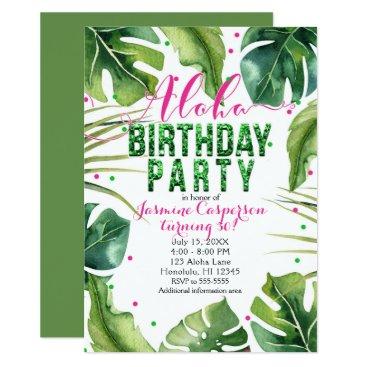 Hawaiian Themed ALOHA BIRTHDAY PARTY Tropical Leaves Pink Green Card