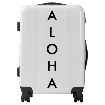 Beach Themed Aloha Black And White Tropical Hawaiian Simple Luggage