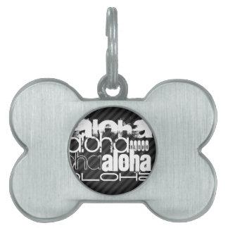Aloha; Black & Dark Gray Stripes Pet Name Tag