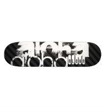 Aloha; Black & Dark Gray Stripes Skateboard