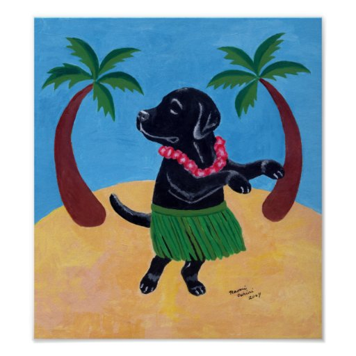 Aloha Black Labrador Artwork Poster