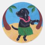Aloha Black Labrador Classic Round Sticker