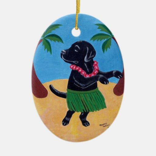 Aloha Black Labrador Ornaments
