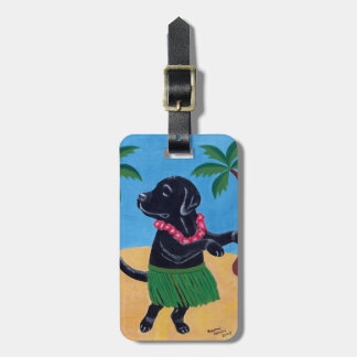 Aloha Black Labrador Painting Luggage Tag