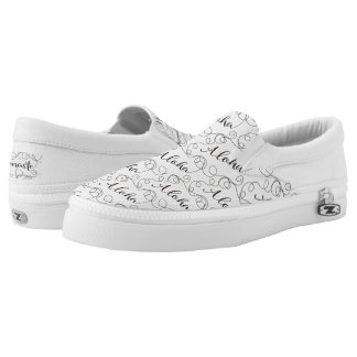 ALOHA black seamless pattern with LINES Slip-On Sneakers