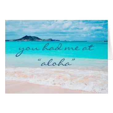 """Beach Themed """"Aloha"""" blue sandy beach photo blank inside card"""