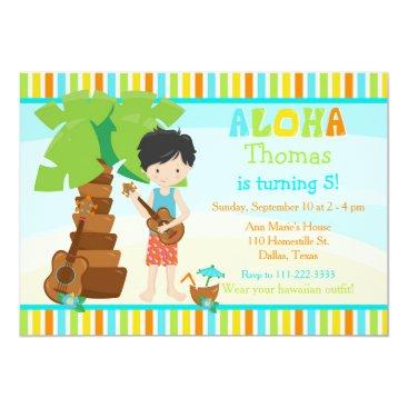 Hawaiian Themed Aloha Cute Black Hair Boy Birthday Party Card