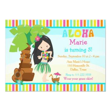 Hawaiian Themed Aloha Cute Black Hair Girl Birthday Party Card