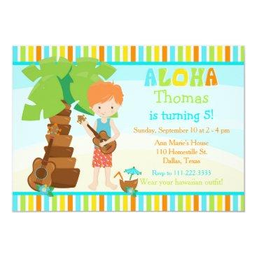 Hawaiian Themed Aloha Cute Red Hair Boy Birthday Party Card