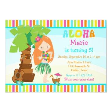 Hawaiian Themed Aloha Cute Red Hair Girl Birthday Party Card