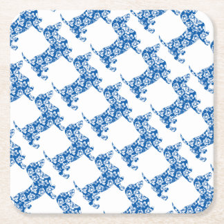 Aloha-Doxie-Blue Square Paper Coaster