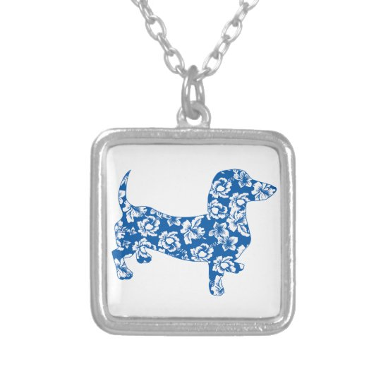Aloha Doxie Dachshund Silver Plated Necklace