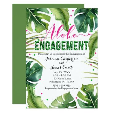 Beach Themed ALOHA ENGAGEMENT Tropical Leaves Pink & Green Card