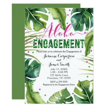 Hawaiian Themed ALOHA ENGAGEMENT Tropical Leaves Pink & Green Card