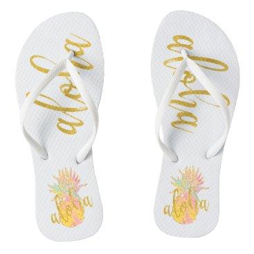 Beach Themed Aloha fancy faux gold glitter pastel pineapple flip flops