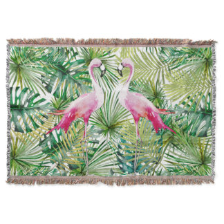 Aloha Flamingo Bird Animal in Jungle Throw Blanket