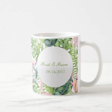 Beach Themed Aloha Flamingo Tropical Beach Wedding Coffee Mug