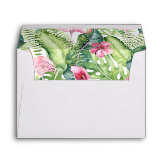 Aloha Flamingo Tropical Beach Wedding Envelope