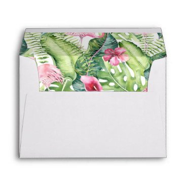 Beach Themed Aloha Flamingo Tropical Beach Wedding Envelope