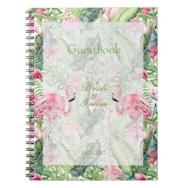 Beach Themed Aloha Flamingo Tropical Beach Wedding guest book